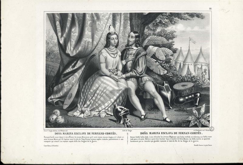 DONA MARINA ESCLAVE DE FERNAND-CORTES (titre inscrit, français, espagnol)