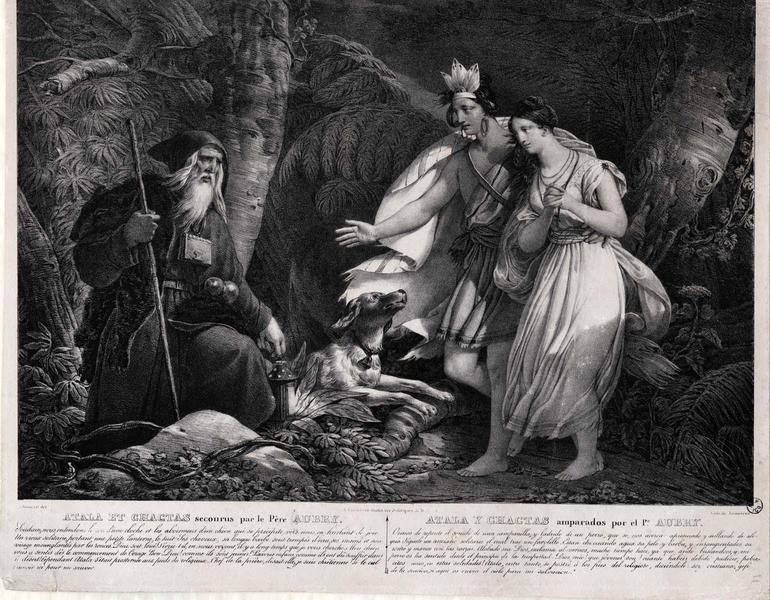 ATALA ET CHACTAS secourus par le Père AUBRY (titre inscrit, français, espagnol)