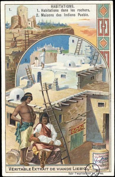 HABITATIONS / 1 HABITATIONS DANS LES ROCHERS, 2 MAISONS DES INDIENS PUEBLO (titre inscrit)
