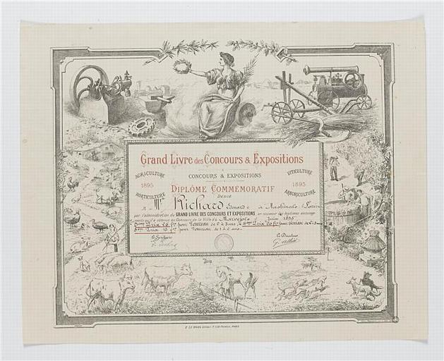 Grand Livre des Concours & Expositions / DIPLOME COMMEMORATIF (titre inscrit)