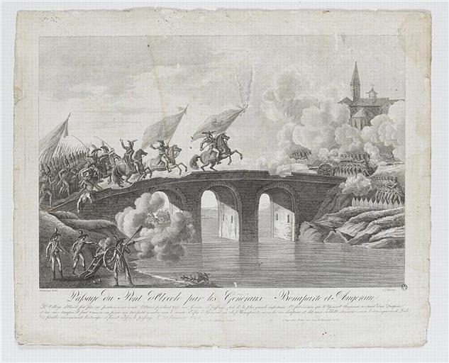 Paysage du Pont d'Arcole par les Généraux Bonaparte et Augereau (titre inscrit)