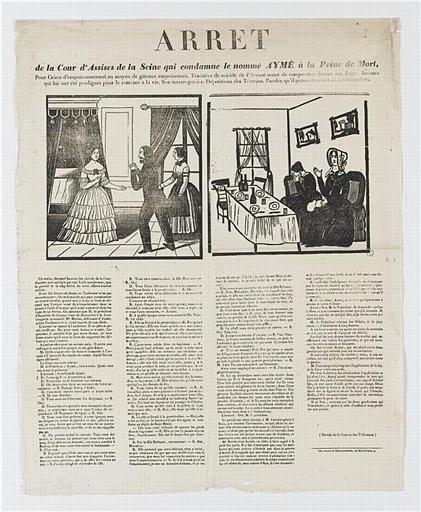 ARRET de la Cour d'Assise de la Seine qui condamne le nommé AYMÉ à la Peine de Mort (titre inscrit)
