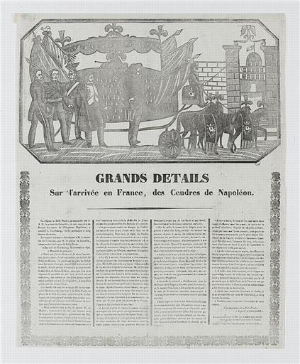 GRANDS DETAILS Sur l'arrivée en France, des Cendres de Napoléon (titre inscrit)