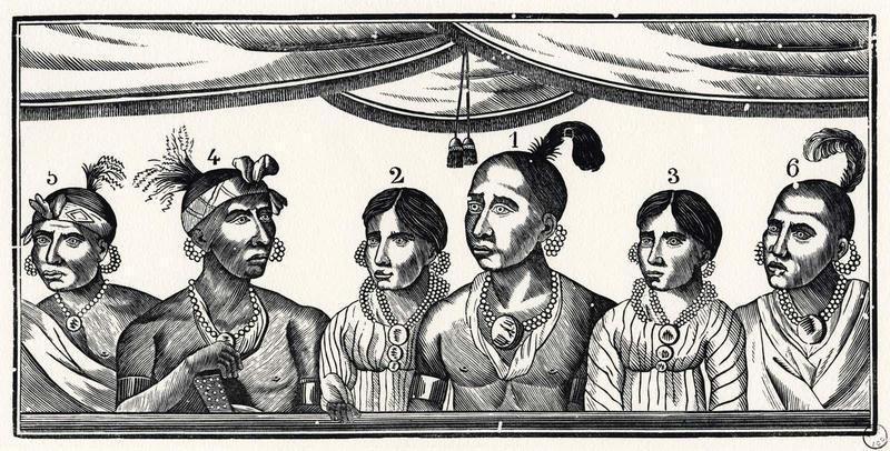 Portrait des six osages arrivés en France le 27 juillet 1827 (titre inscrit)