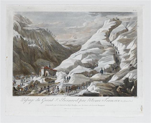 Passage du Grand St. Bernard, par l'Armée Française le 5 Prairial an 8 (titre inscrit)