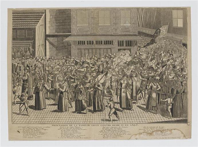 PROCESSION DE LA FAMEUSE LIGUE CONTRE HENRI IV EN 1593 (titre inscrit)