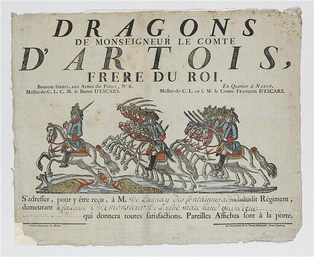 DRAGONS DE MONSEIGNEUR LE COMTE D'ARTOIS, FRERE DU ROI (titre inscrit)