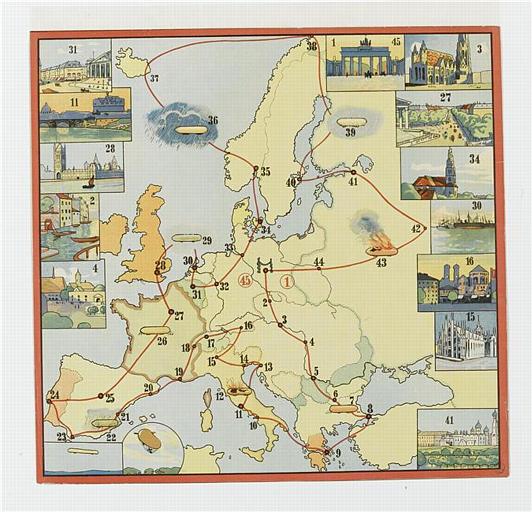 Voyage en ballon dirigeable / à travers l'Europe (titre factice)