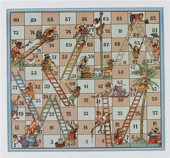 jeu d'échelles avec singes costumés (titre factice)