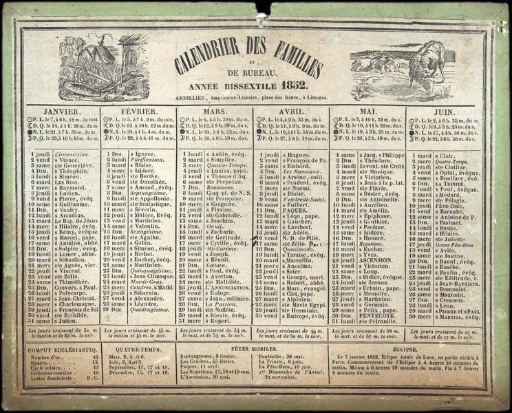 CALENDRIER DES FAMILLES / ET / DE BUREAU / ANNEE BISSEXTILE 1852 (titre inscrit)