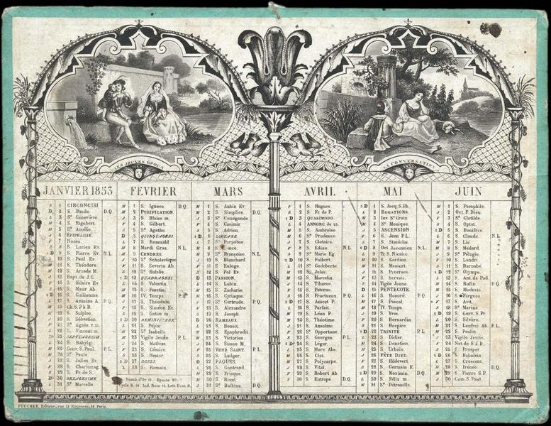 Almanach avec quatre scènes de style troubadour (titre factice)