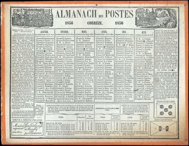ALMANACH DES POSTES / CORREZE (titre inscrit)