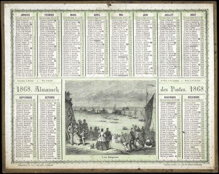 ALMANACH DES POSTES / Les Régates (titre inscrit)