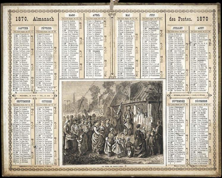 ALMANACH DES POSTES / LA FOIRE DE SAINT-CLOUD (titre inscrit)