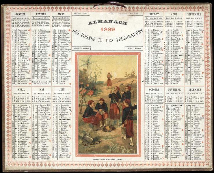 ALMANACH 1889 DES POSTES ET DES TELEGRAPHES / LE BIVOUAC (titre inscrit)_0