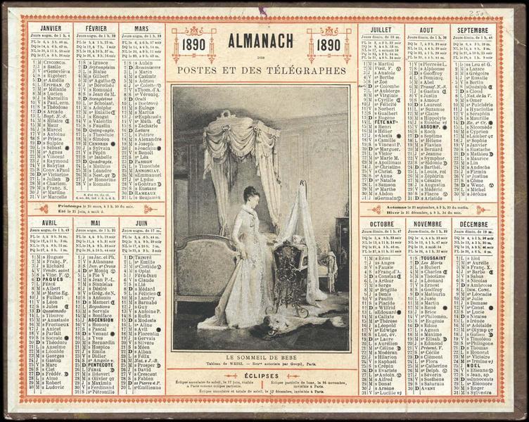 ALMANACH DES POSTES ET DES TELEGRAPHES / LE SOMMEIL DE BEBE (titre inscrit)_0