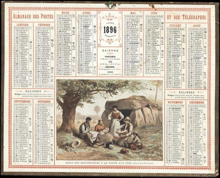 ALMANACH DES POSTES ET DES TELEGRAPHES / 1896 / REPAS DES MOISSONNEURS A LA ROCHE AUX FEES (ILLE-ET-VILAINE) (titre inscrit)_0