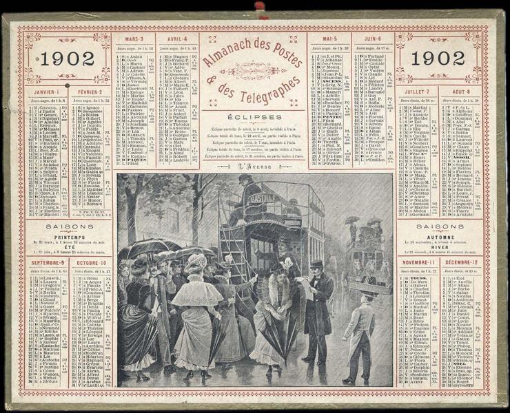 ALMANACH DES POSTES ET DES TELEGRAPHES / L'AVERSE (titre inscrit)_0