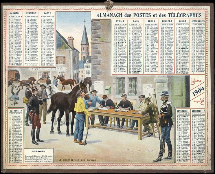 ALMANACH DES POSTES ET DES TELEGRAPHES / LE RECENSEMENT DES CHEVAUX (titre inscrit)_0