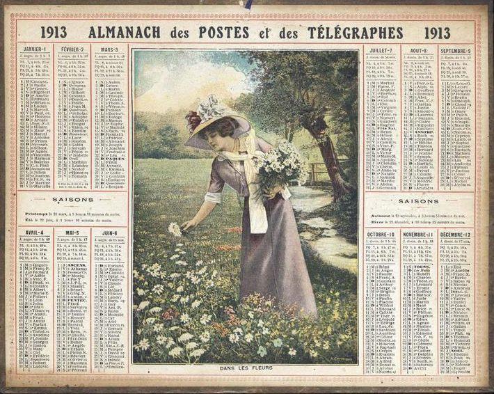 ALMANACH DES POSTES ET DES TELEGRAPHES / DANS LES FLEURS (titre inscrit)_0