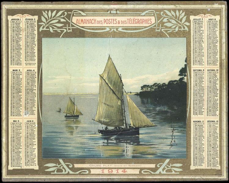 ALMANACH DES POSTES ET DES TELEGRAPHES / CALME PLAT (Golfe du Morbihan) (titre inscrit)_0