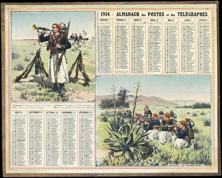 ALMANACH DES POSTES ET DES TELEGRAPHES / ZOUAVES EN MANOEUVRES (titre inscrit)_0