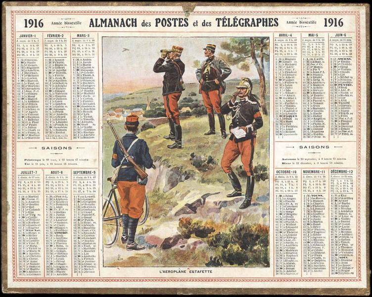 ALMANACH DES POSTES ET DES TELEGRAPHES / L'AEROPLANE ESTAFETTE (titre inscrit)_0