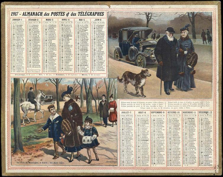 ALMANACH DES POSTES ET DES TELEGRAPHES / Au Bois de Boulogne à Paris : les deux âges (titre inscrit)_0