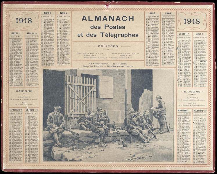 Almanach des Postes et des Télégraphes / La Grande Guerre - Sur le Front / Repos des Zouaves - Distribution des Lettres (titre inscrit)_0