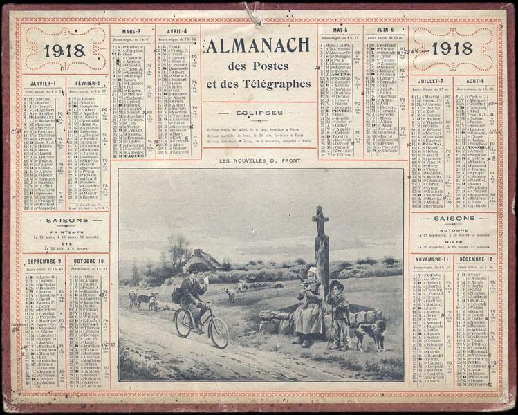 ALMANACH DES POSTES ET DES TELEGRAPHES / LES NOUVELLES DU FRONT (titre inscrit)_0