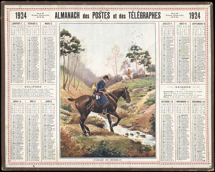 ALMANACH DES POSTES ET DES TELEGRAPHES / PASSAGE DU RUISSEAU (titre inscrit)_0
