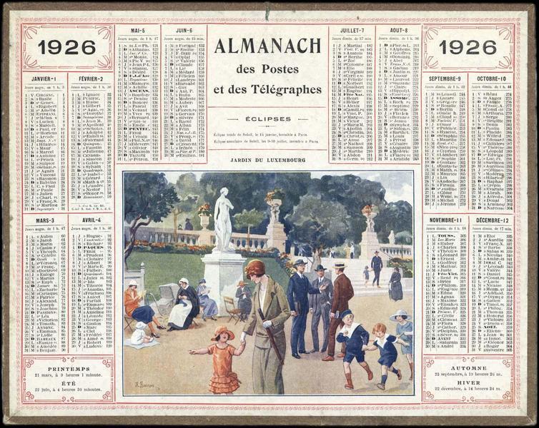 ALMANACH DES POSTES ET DES TELEGRAPHES / JARDIN DU LUXEMBOURG (titre inscrit)_0