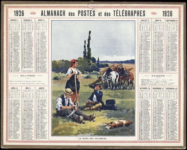 ALMANACH DES POSTES ET DES TELEGRAPHES / LE REPOS DES FAUCHEURS (titre inscrit)_0