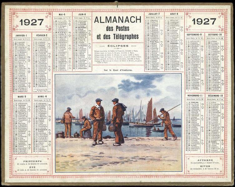 ALMANACH DES POSTES ET DES TELEGRAPHES / Sur le Quai d'Audierne (titre inscrit)_0