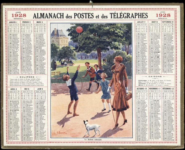 ALMANACH des POSTES et des TELEGRAPHES / LE BALLON ECHAPPE (titre inscrit)_0