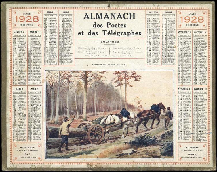 ALMANACH DES POSTES ET DES TELEGRAPHES / Transport des Grumes en forêt (titre inscrit)_0