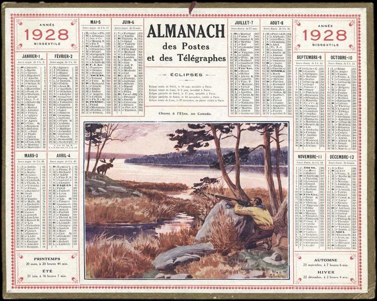 ALMANACH DES POSTES ET DES TELEGRAPHES / Chasse à l'Elan au Canada (titre inscrit)_0