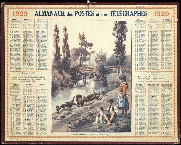 ALMANACH DES POSTES ET DES TELEGRAPHES / Petits Gardeurs de Dindons, en Dordogne (titre inscrit)_0