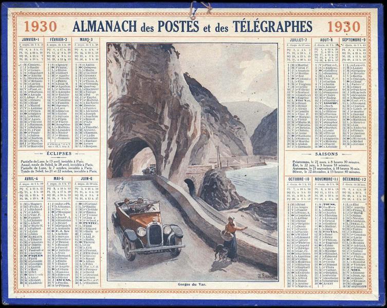 ALMANACH des POSTES et des TELEGRAPHES / Gorges du Var (titre inscrit)_0