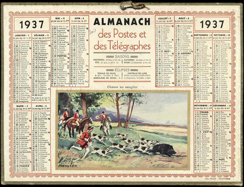 ALMANACH des Postes et des Télégraphes / Chasse au sanglier (titre inscrit)_0