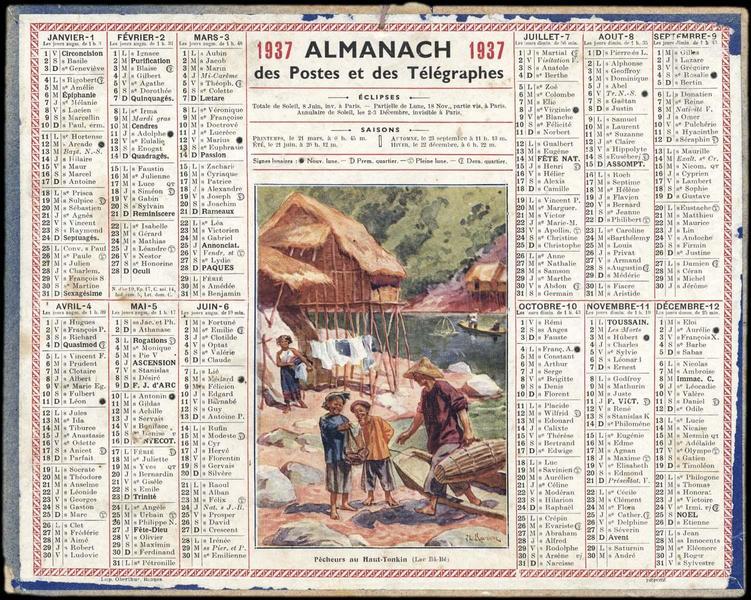 ALMANACH des Postes et des Télégraphes / Pêcheurs du Haut-Tonkin (Lac Bâ-Bé) (titre inscrit)_0