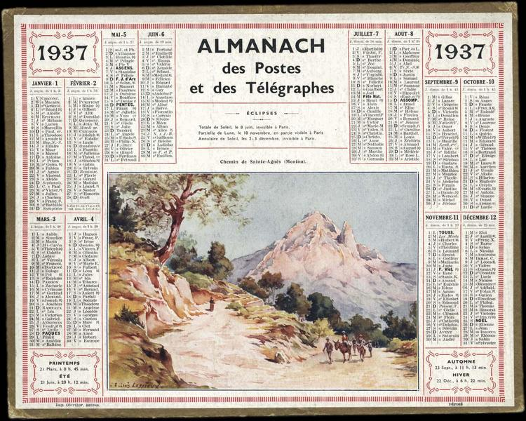 ALMANACH DES POSTES ET DES TELEGRAPHES / Chemin de Sainte-Agnès (Menton)  (titre inscrit)_0