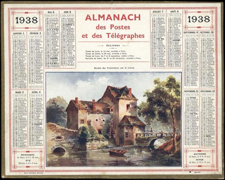 ALMANACH DES POSTES ET DES TELEGRAPHES / Moulin des Tracreniers sur le Loiret (titre inscrit)_0