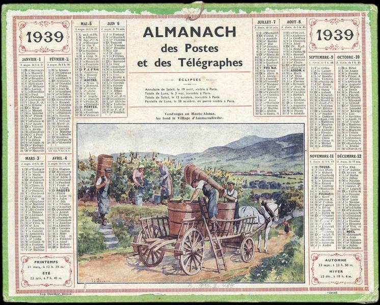ALMANACH des Postes et des Télégraphes / Vendanges en Haute-Alsace. Au fond le village d'Ammerschwihr (titre inscrit)_0