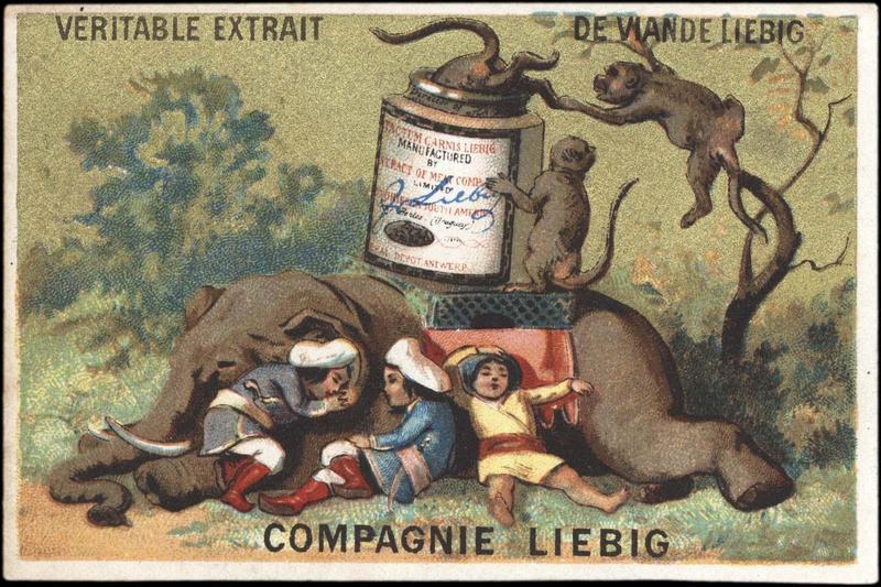 Des singes volent le contenu d'une boîte de Liebig, alors que l'éléphant et les indiens sont endormis (titre factice)