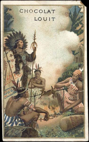 Des indiens d'Amérique sont assis autour d'un gibier en train de rotir (titre factice)