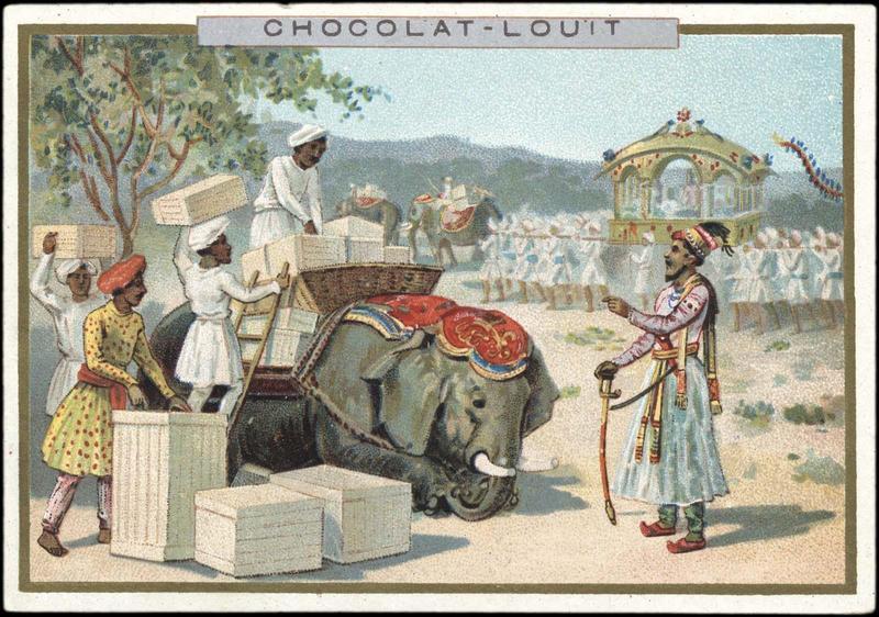 Quatre indiens chargeant des caisses sur un éléphant - Aux Indes (titre d'origine)