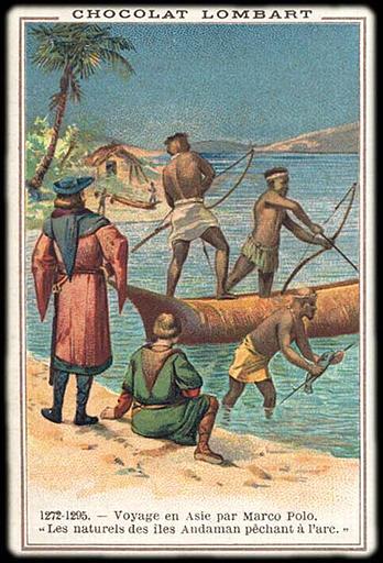 1272-1295. Voyage en Asie par Marco Polo. / 'Les naturels des îles Andaman pêchent à l'arc.' (titre inscrit)