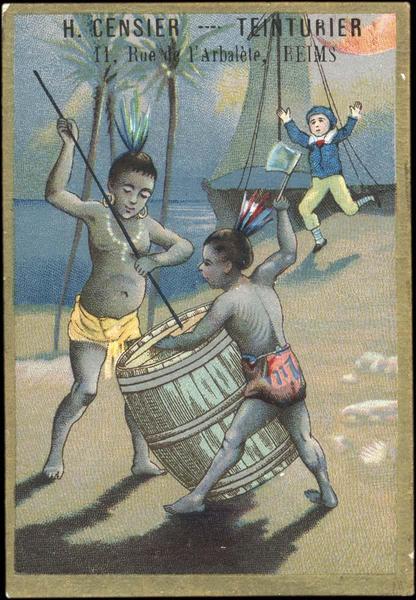 Jeune marin accourant vers des Amérindiens qui ouvrent un tonneau (titre factice)