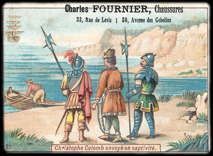 Christophe Colomb envoyé en captivité (titre inscrit)